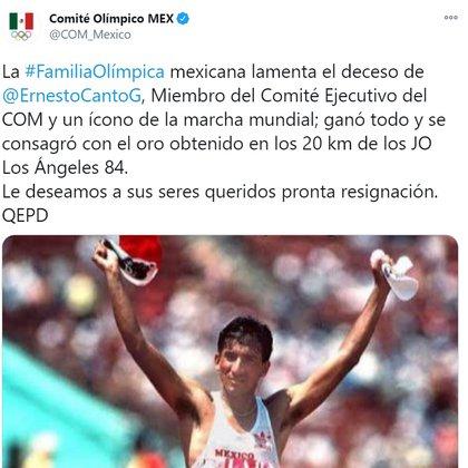 El anuncio del Comité Olímpico sobre la muerte de Ernesto Canto (Foto: Twitter @ COM_Mexico)