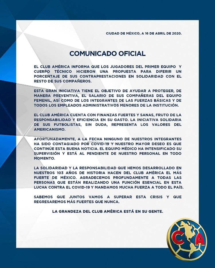 América informó sobre la propuesta hecha por futbolistas y cuerpo técnico en apoyo del resto de los integrantes (Foto:Twitter@ClubAmerica)