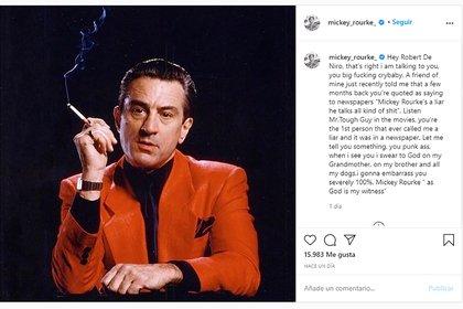El mensaje de Mickey Rourke contra Robert de Niro