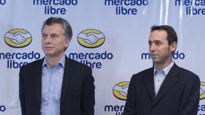 Macri en una visita a Mercado Libre, en 2016 (Adrián Escándar)