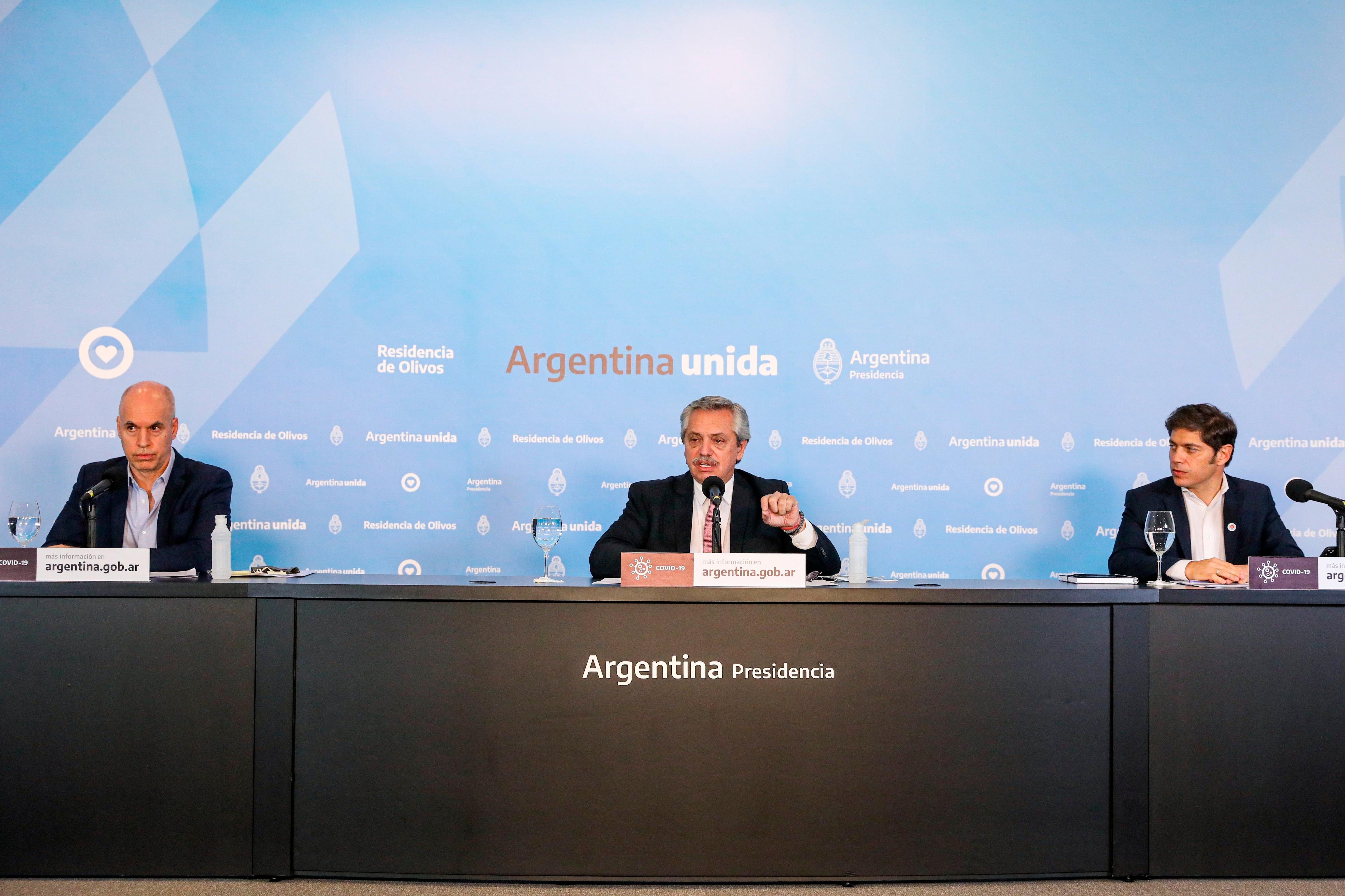 Horacio Rodríguez Larreta, Alberto Fernández, Axel Kicillof. (Presidencia de la Nación)