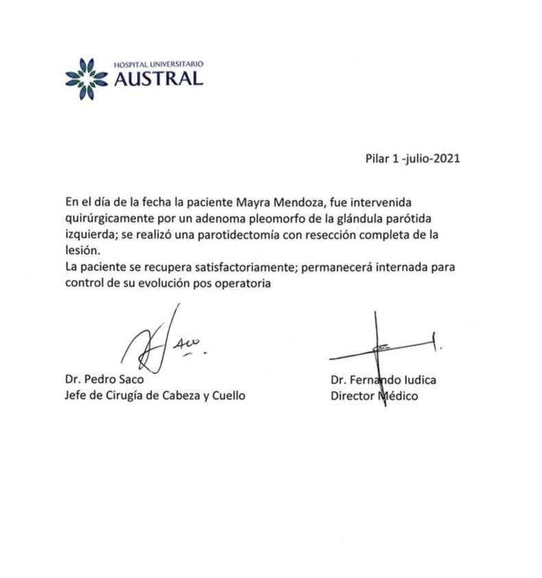 Parte médico Mayra Mendoza