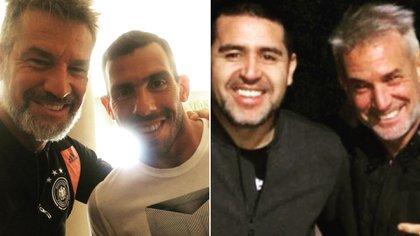 Diego Díaz con Carlos Tevez y Juan Román Riquelme, sendas publicaciones en su cuenta de Instagram.