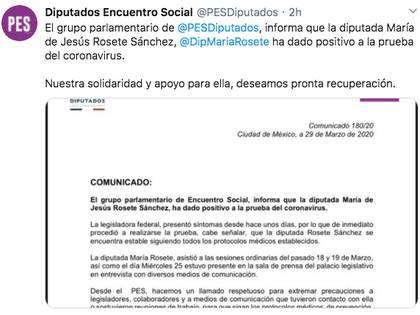 A través de un comunicado, el Partido Encuentro Social informó el contagio de la diputada María de Jesús Rosete y deseó su pronta recuperación (Foto: Twitter)