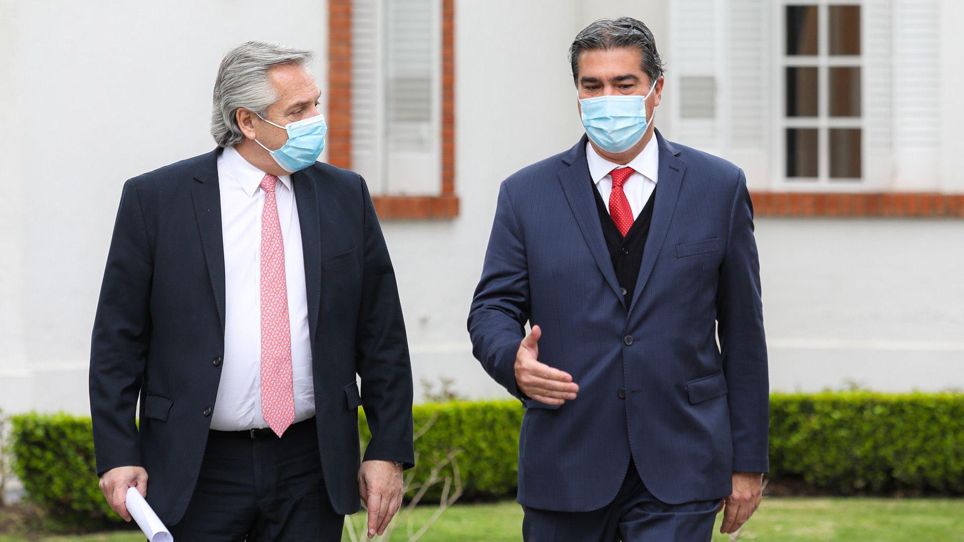 Alberto Fernández con Jorge Capitanich - Olivos
