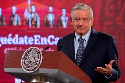 Fotografía cedida este jueves por la presidencia de México, del mandatario mexicano Andrés Manuel López Obrador, durante una rueda de prensa matutina en Palacio Nacional de Ciudad de México. EFE/Presidencia de México/SOLO USO EDITORIAL