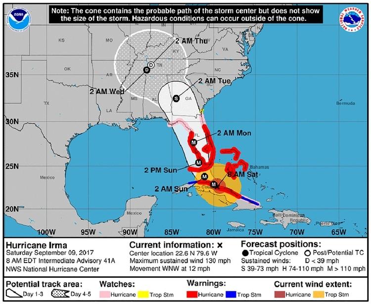 EN VIVO: el huracán Irma tocó tierra en Cuba, está en categoría 4 y a 365 kilómetros de Miami