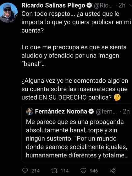 Así respondió el empresario a las criticas realizadas por el diputado morenista, Gerardo Fernández Noroña (Foto: Twitter/ @RicardoBSalinas)