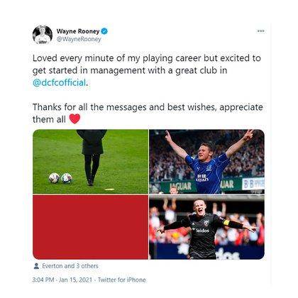 El posteo de Wayne Rooney en las redes sociales
