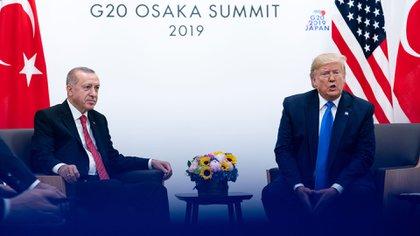 El presidente Donald Trump, durante un encuentro con el mandatario turco Recep Tayyip Erdogan, en la Cumbre del G-20 en Osaka, Japón, el 29 de junio de 2019 (Erin Schaff / The New York Times)