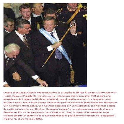 Según el Manual, Kirchner asume la presidencia en una fecha casí mítica