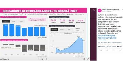 Publicación sobre la situación de la situación de desocupación y desempleo de los jóvenes en Bogotá.