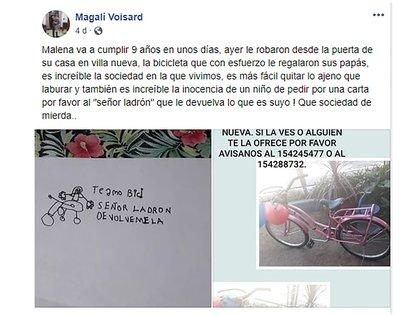 """La tía de Malena compartió la carta que su sobrina le escribió al ladrón de su bicicleta. """"Es increíble la inocencia de un niño de pedir, a través de una carta, por favor al 'Señor ladrón' que le devuelva lo que es suyo"""", compartió en su posteo."""