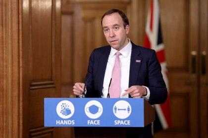 El secretario de Salud del Reino Unido Matt Hancock (Trevor Adams/Reuters)
