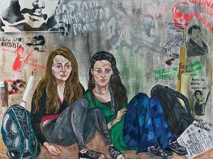 """""""Toma de la Belgrano"""" de Marcia Schvartz (2013) Gran Premio Adquisición del 102 Salón Nacional, técnica mixta, 140 x 190 cm."""
