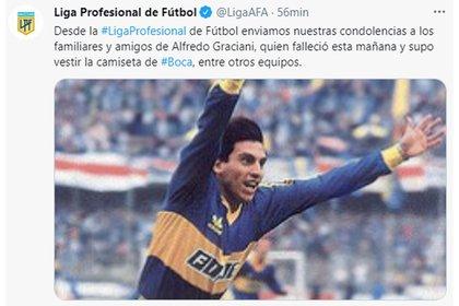 La Liga Profesional de Fútbol recordó a Graciani