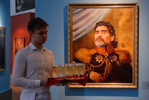 Diego Maradona, inmortalizado en Rusia (AP Photo/Dmitri Lovetsky, File)