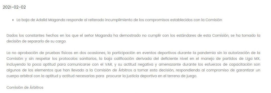 Comunicado de la Comisión de Arbitraje sobre la destitución de Adalid Maganda (Foto: FMF)