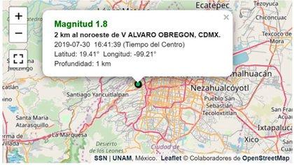 El epicentro fue dentro de Ciudad de México (Foto: Sismológico Nacional)