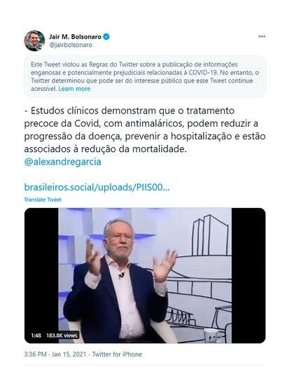 """El tuit de Jair Bolsonaro en el que Twitter agregó una advertencia por contener información """"engañosa"""""""