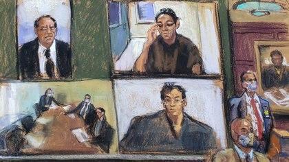 Ghislaine Maxwell aparece a través de un enlace de video durante su audiencia de comparecencia, donde se le negó la fianza por ayudar a Jeffrey Epstein a reclutar y eventualmente abusar de menores, en el Tribunal Federal de Manhattan, (Reuters)