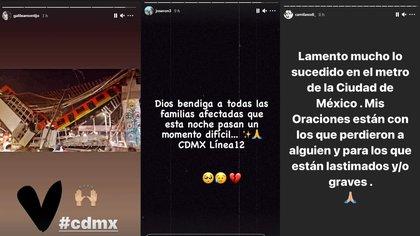 El medio artístico lamentó el aparatoso accidente del metro de la CDMX (Captura: @galileamontijo, @joseron3, @camilasodi_/Instagram)