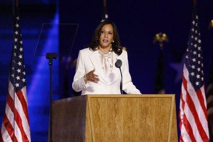 Kamala Harris fue la primera en tomar la palabra en el acto de este sábado en Wilmington REUTERS/Jim Bourg