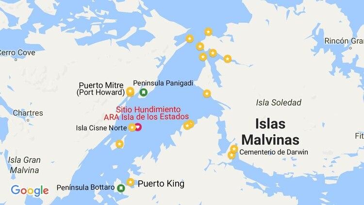 Sitio del hundimiento del Isla de los Estados 2 en la noche del 10 de mayo de 1982