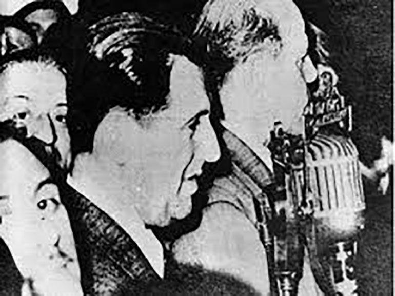 Perón, en su discurso desde el balcón de la Casa Rosada, en la noche del 17 de octubre