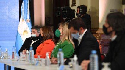 Máximo Kichner, Cecilia Moreau y Cristina Alvarez Rodríguez (Frente de Todos), Eduardo Bucca (interbloque Federal) y Nicolás del Caño, de la izquierda (Maximiliano Luna)
