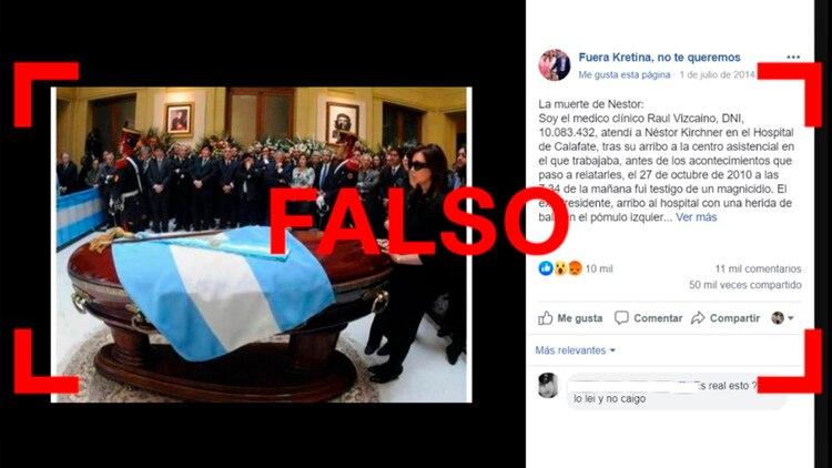 Resultado de imagen para Una desinformación que vuelve: es falso que Kirchner murió por un disparo