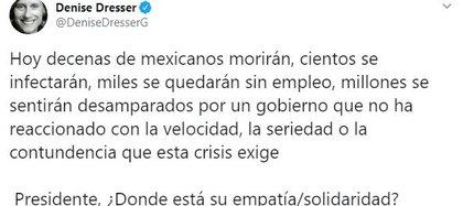 Denise Dresser criticó a AMLO por la presencia del COVID-19 en México  incluso cuando él no hablaba de ese tema (Foto: Twitter / DeniseDresserG)