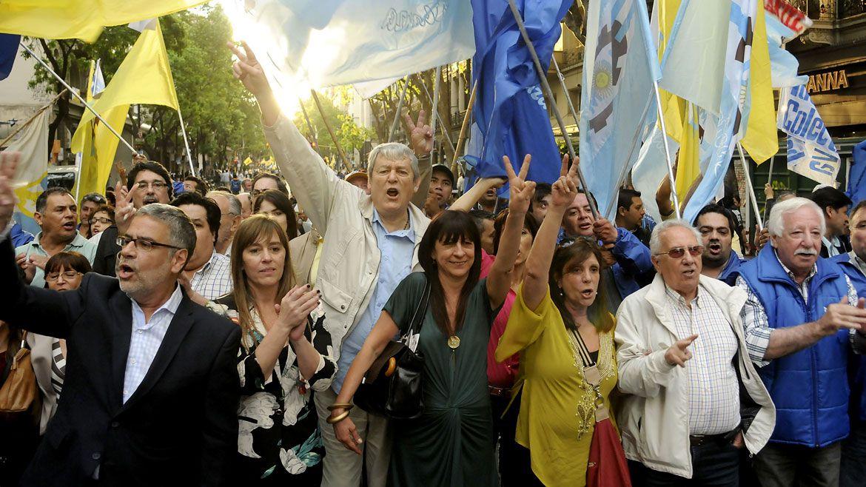 En pleno kirchnerismo, festejando el Dia de la Lealtad junto a Feletti, Kunkel, Diana Conti y Hector Recalde