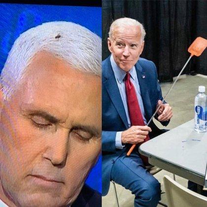 El candidato Joe Biden bromeó sobre la mosca en la cabeza de Mike Pence