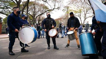 Protesta de la policía frente a la Quinta de Olivos (fotos: Franco Fafasuli)