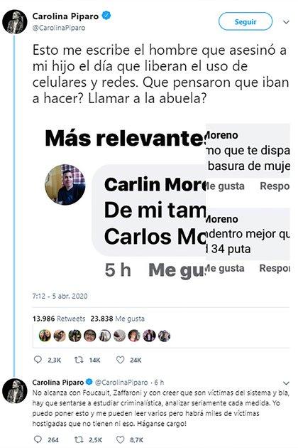 Captura del tuit de Piparo con los mensajes de Carlin Moreno amenazandola