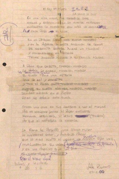 La letra original de La Mano de Dios (Foto: Archivo Alejandro Romero)