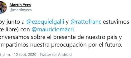 El tuit de Martín Yeza confirmando el encuentro