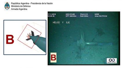 Sección B: cono de popa, timón vertical, planos de popa, hélice y eje.