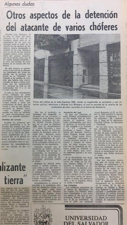 Las distintas hipótesis del caso en el diario La Prensa del 18 de octubre de 1982