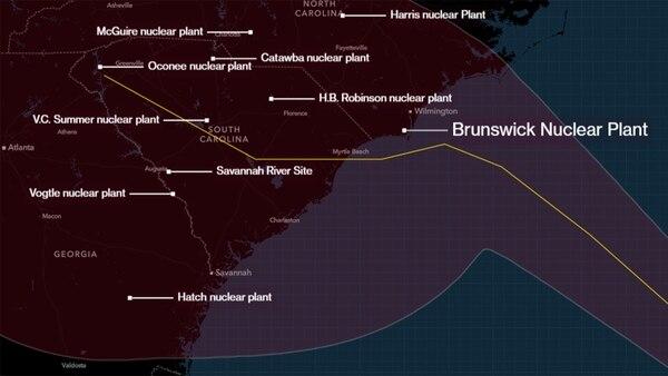 Las plantas nucleares en el camino de Florence (Gentileza Bloomberg)