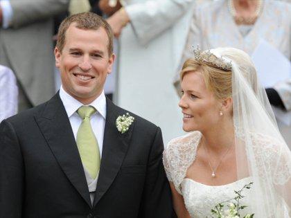 Peter Phillips y Autumn Kelly en su casamiento en 2008 (Shutterstock)