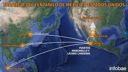 La ruta del fentanilo de México a Estados Unidos (Mapa: Infobae)
