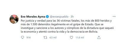 Uno de los tuits de Evo Morales tras el arresto de Áñez