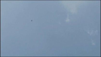 El drone verde, desde donde fueron lanzadas las bolsas de marihuana en Tel Aviv