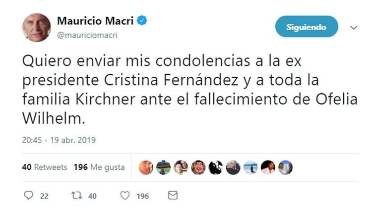 Tuit del presidente Mauricio Macri