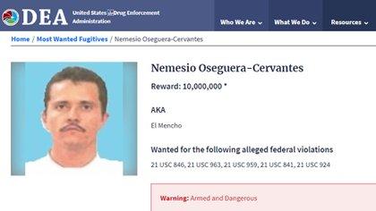 La ficha de búsqueda de la DEA (Foto: DEA)