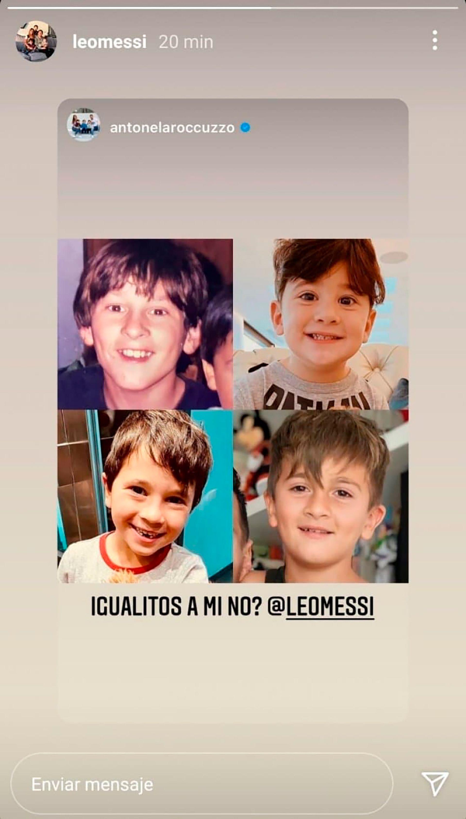 Anto Roccuzzo y Messi con sus hijos