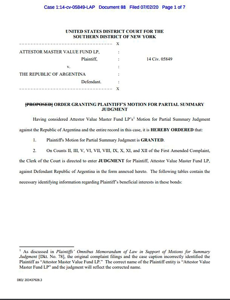 El fallo de la jueza Loretta Preska de Nueva York contra la Argentina fuente: Sebastián Maril