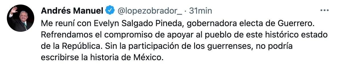 El mandatario aseguró que sin la participación de los guerrerenses, no podría escribirse la historia de México (Foto: Twitter@lopezobrador_)